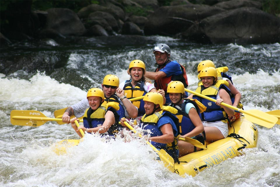 Family white water rafting